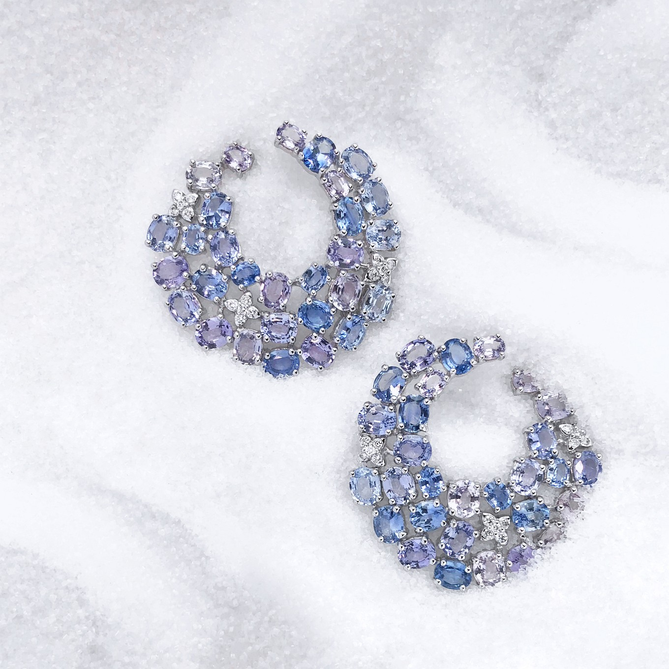 "SAPPHIRE & DIAMOND ""SWIRL"" EARRINGS"