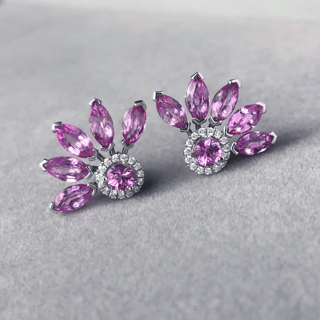 PINK SAPPHIRE FLARE JACKETS PAIRED WITH PINK SAPPHIRE & DIAMOND STUDS