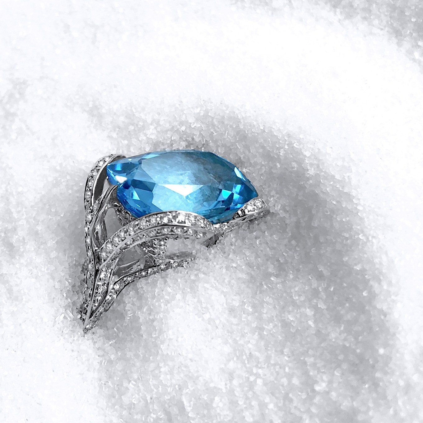 "BLUE TOPAZ & DIAMOND ""SWIRL"" RING"