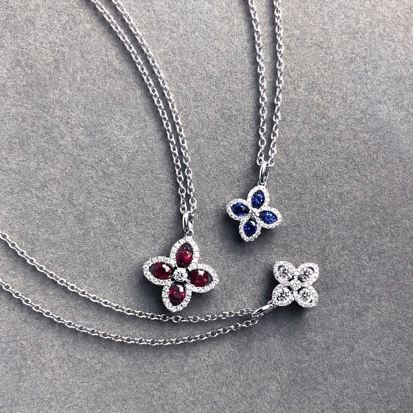 RUBY & SAPPHIRE SEVILLA DIAMOND PENDANTS IN WHITE GOLD
