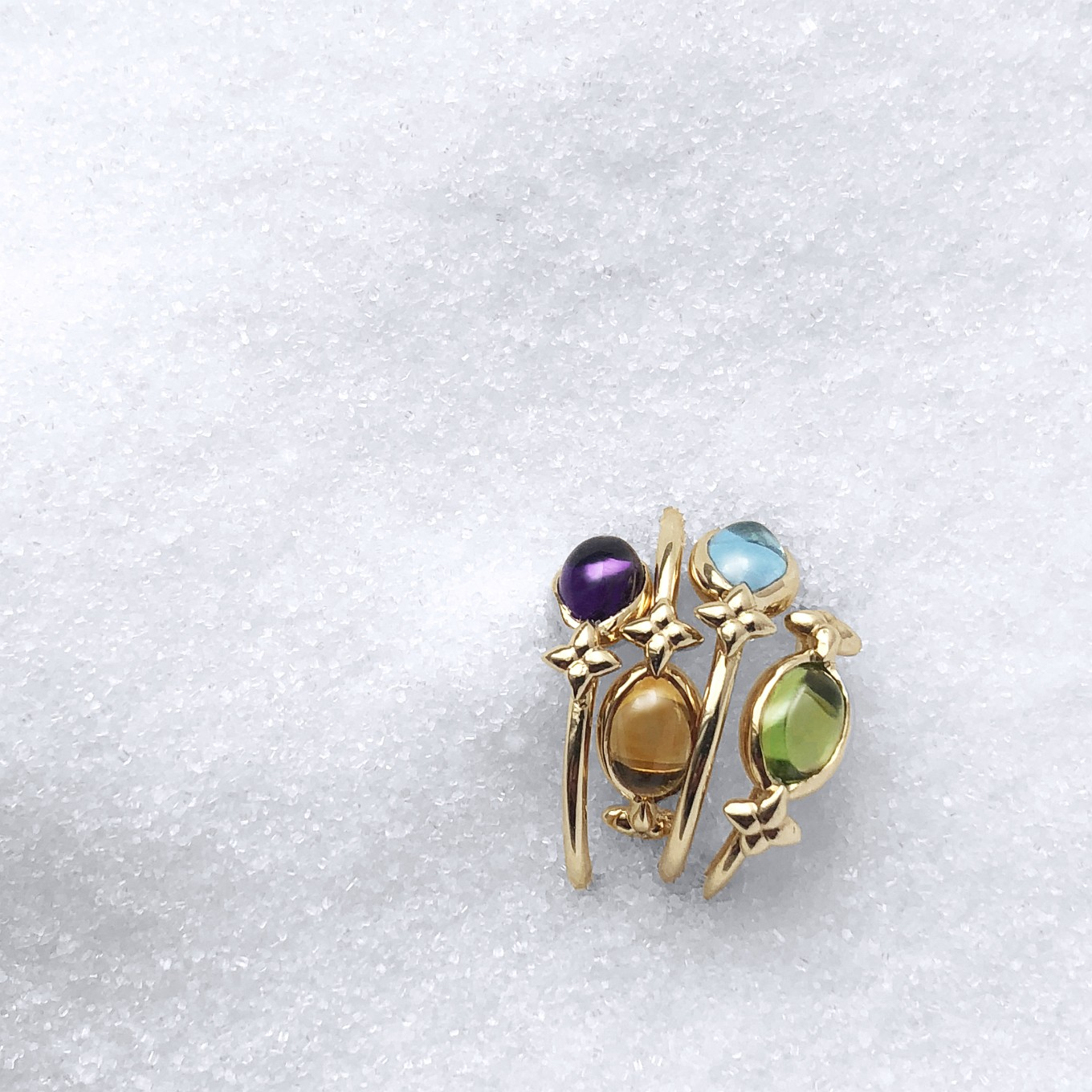 BELLA CABOCHON GEMSTONE RINGS IN YELLOW GOLD