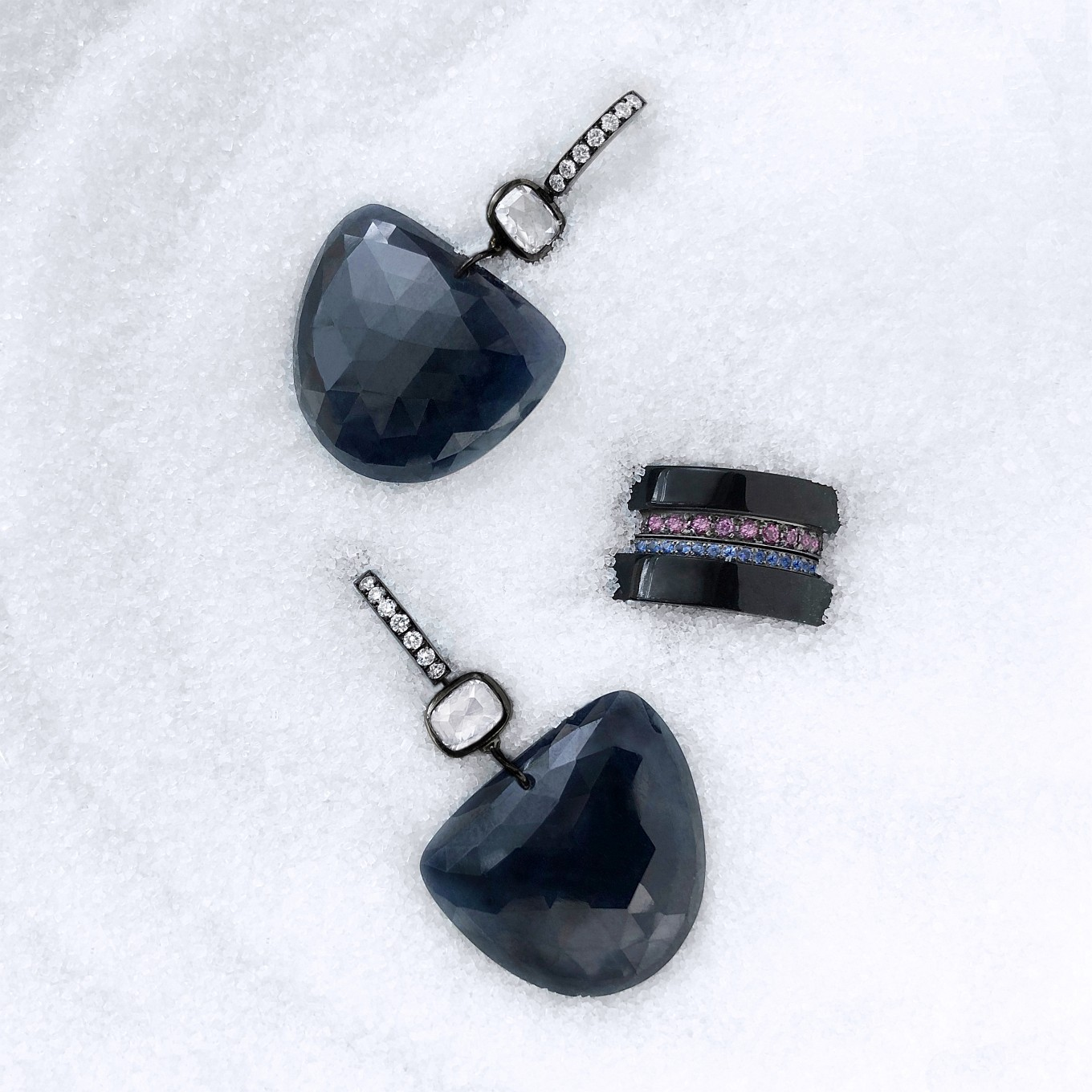 ROSE CUT BLUE SAPPHIRE & DIAMOND EARRINGS IN WHITE GOLD WITH BLACK RHODIUM FINISHBLACK JADE & SAPPHIRE BANDS
