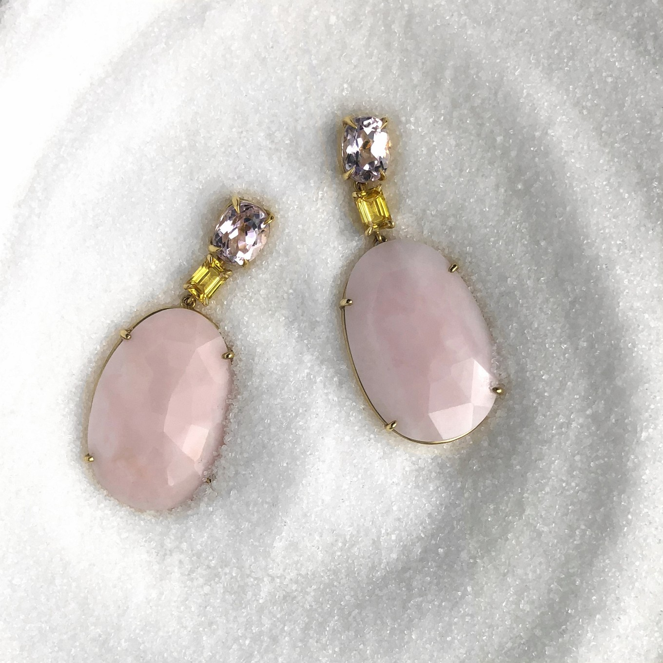 ROSE CUT PINK OPAL EARRINGS WITH KUNZITE & YELLOW SAPPHIRE IN YELLOW GOLD