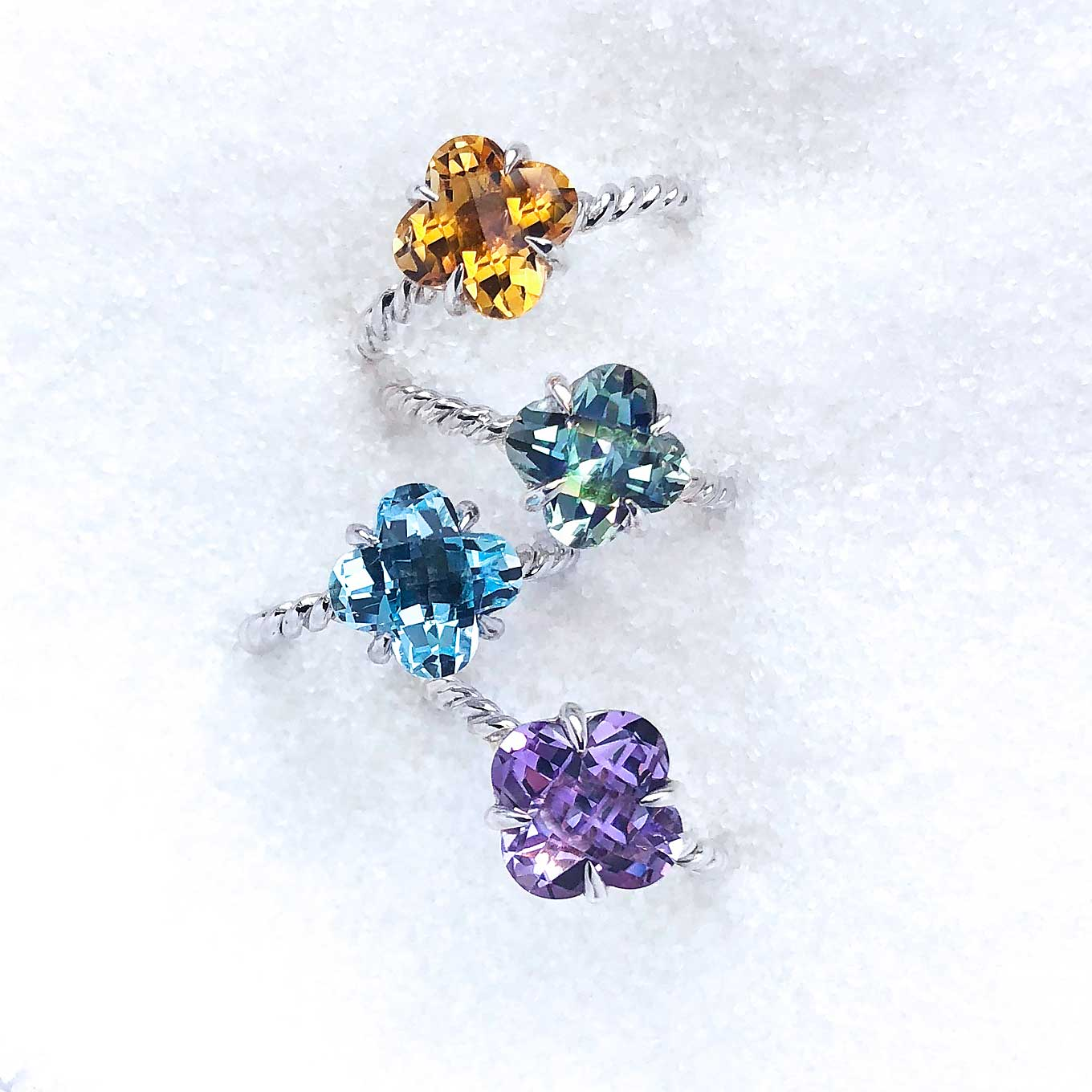 AMETHYST, GREEN AMETHYST, BLUE TOPAZ & CITRINE CLOVER CUT RINGS IN STERLING