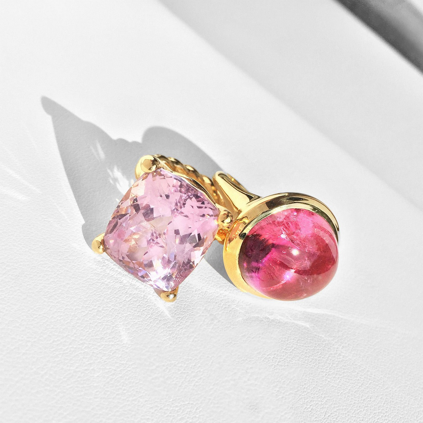 Statement Rings. Pink Tourmaline & Kunzite