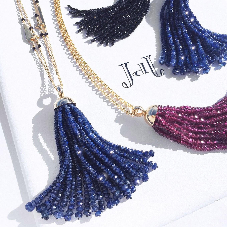 Tassels. Sapphire - Spinel - Rhodolite Garnet