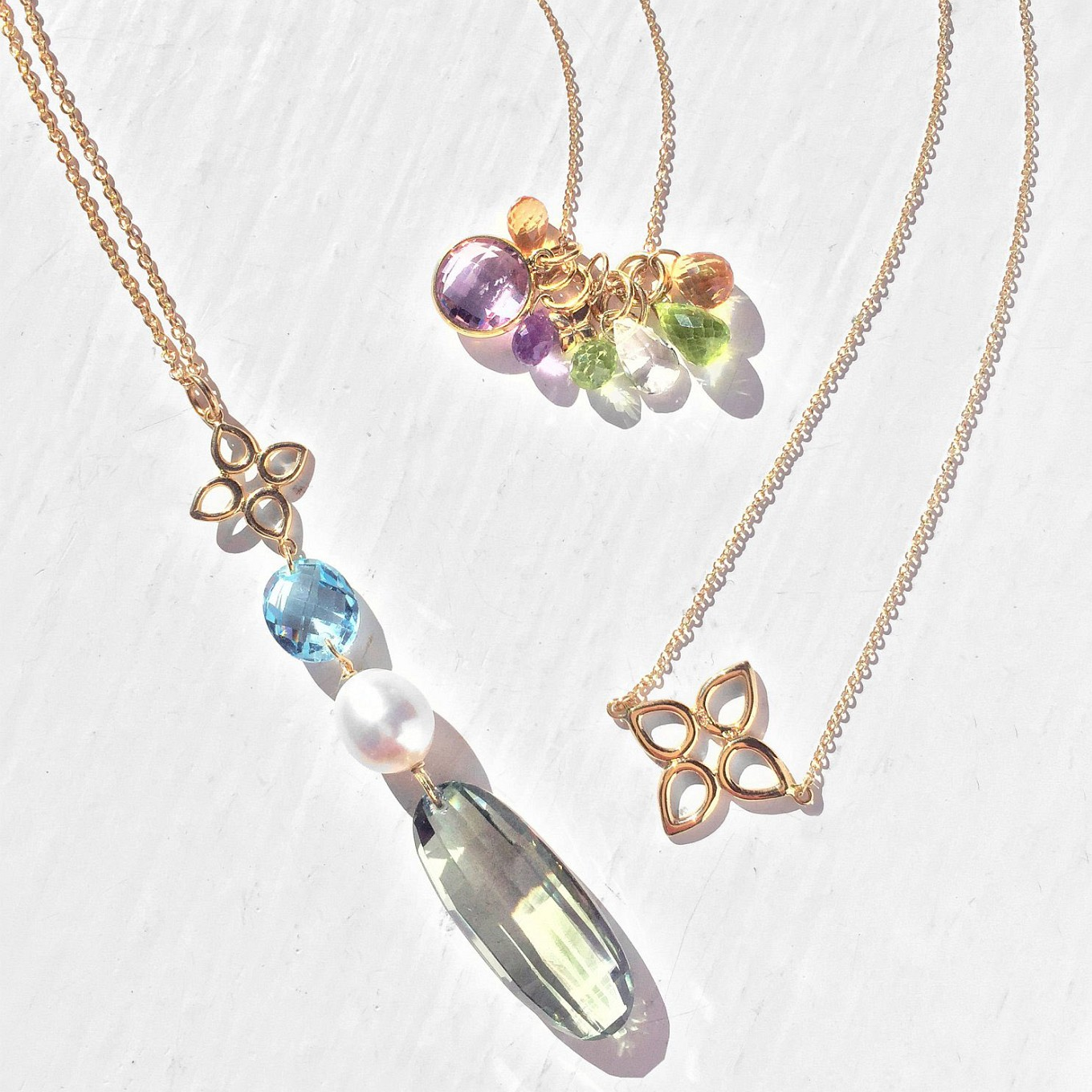 JdJ Studio Pendants. Gemstone & Gold