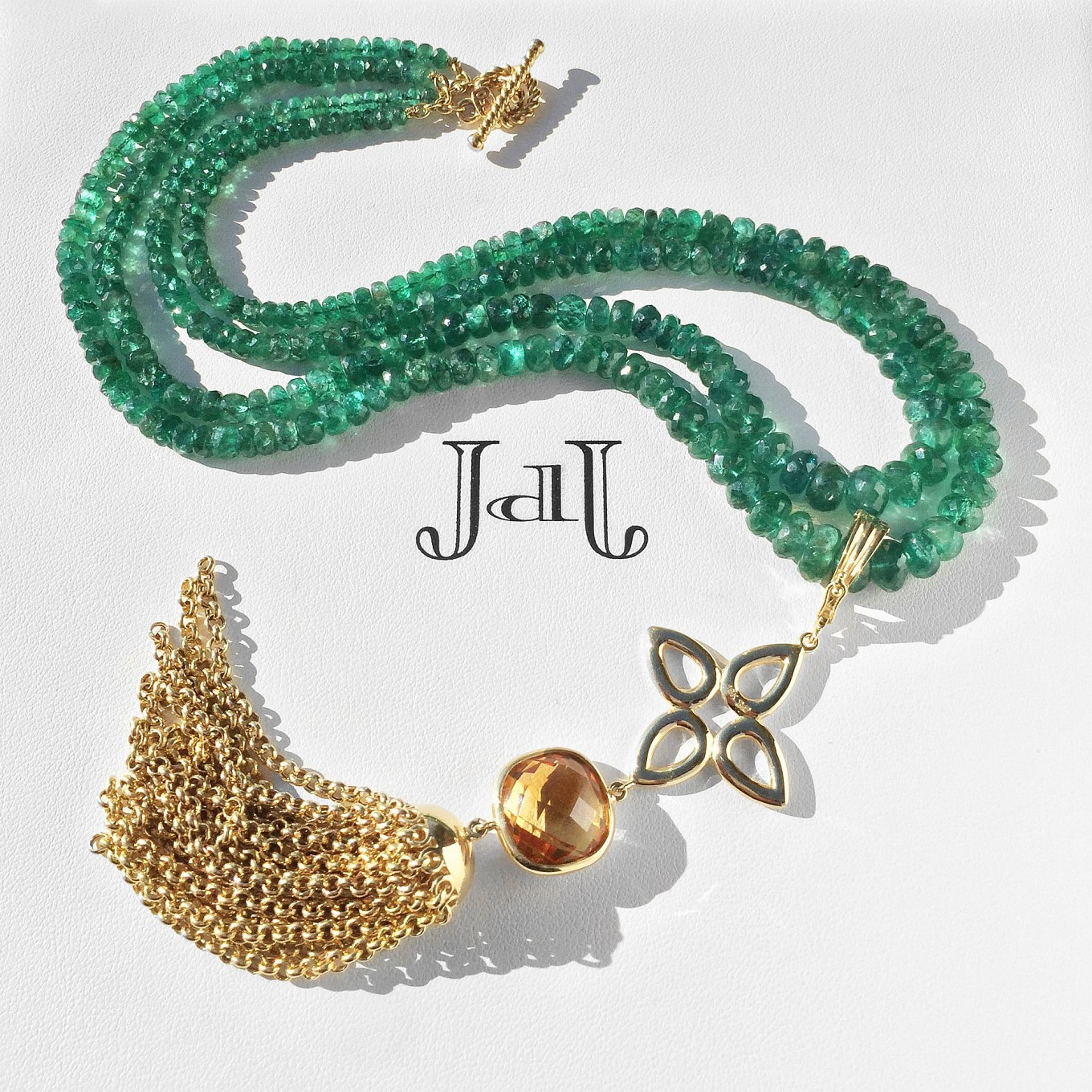 Necklace & Tassel. Emerald - Citrine – Gold