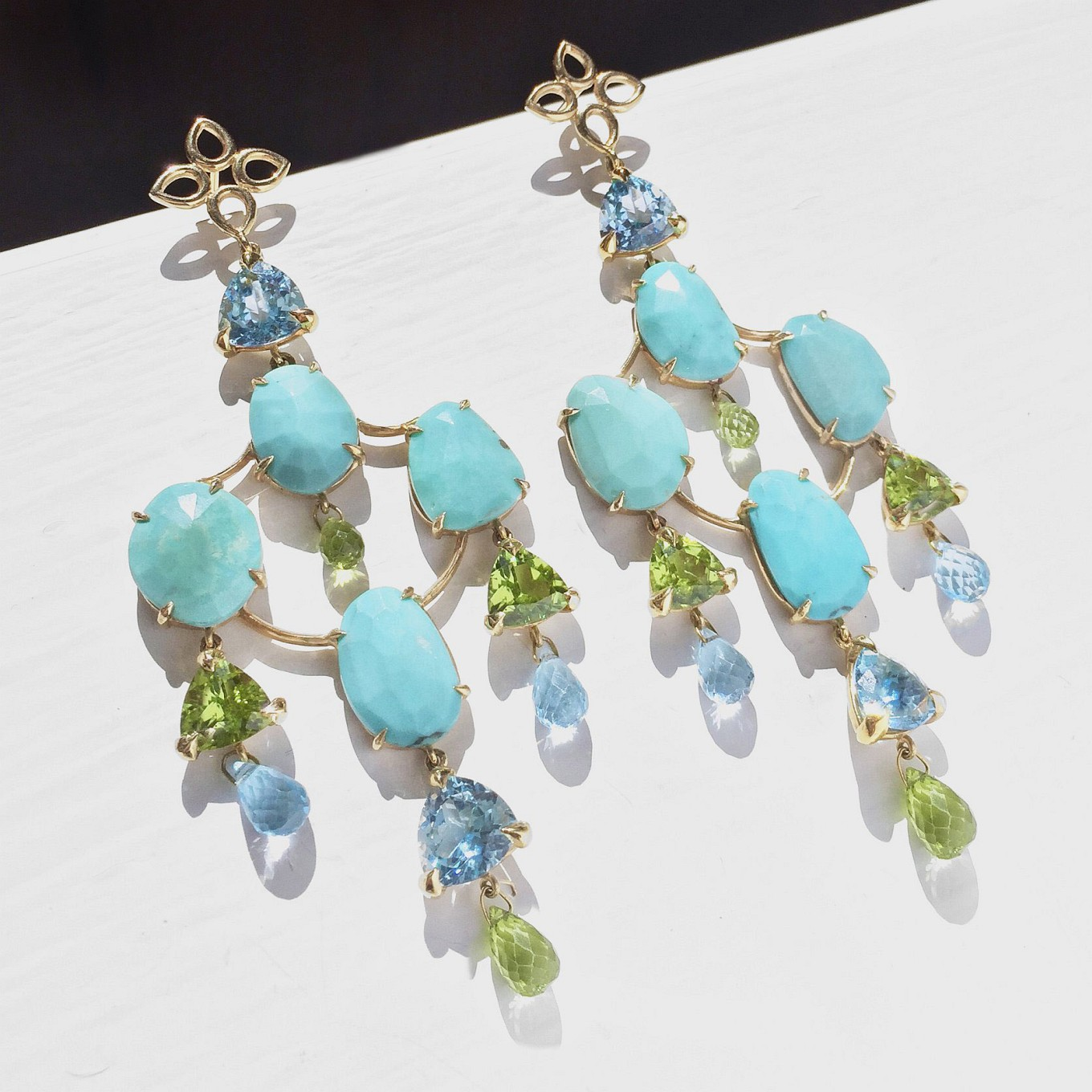 Girandole Earrings. Turquoise - Peridot – Topaz
