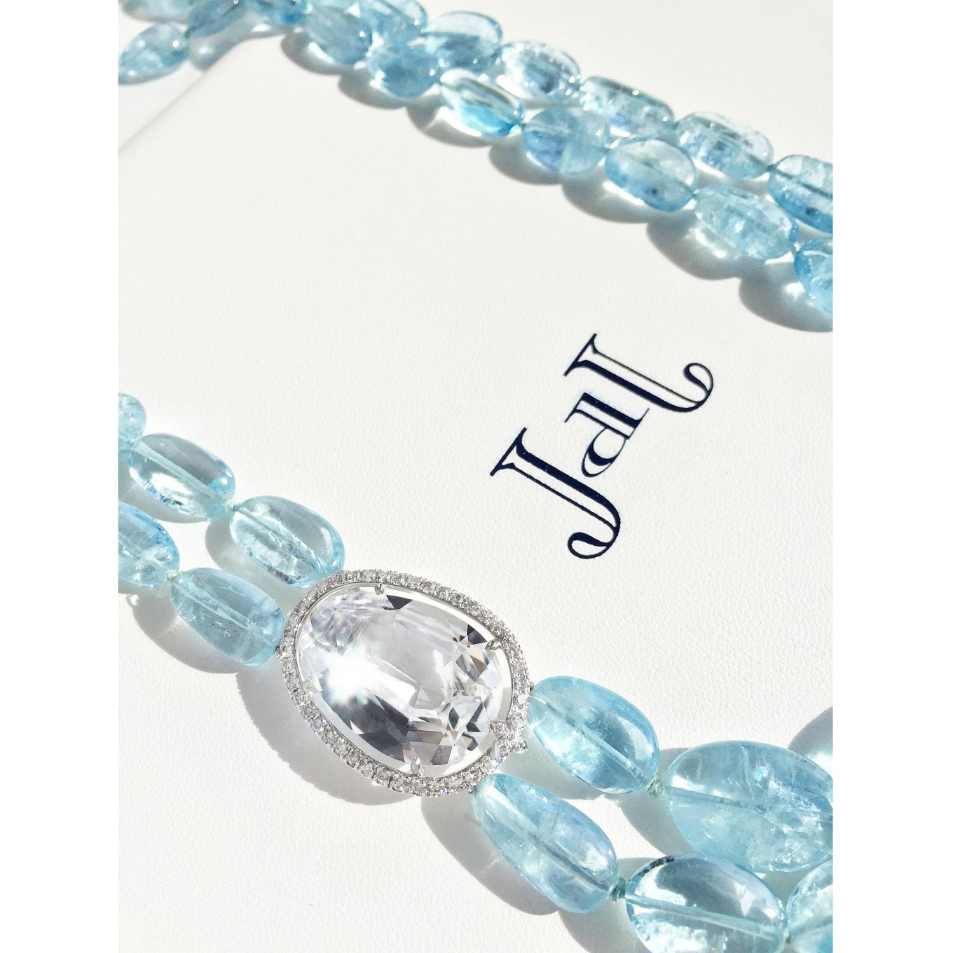 Tumbled Aquamarine. White Tourmaline & Diamonds