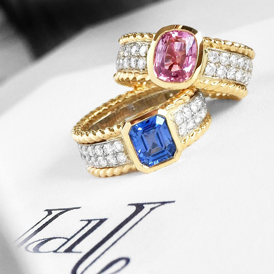 Braid Rings. Pink & Blue Sapphire. Diamonds