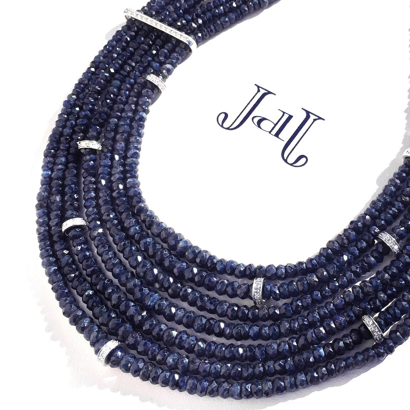 Sapphire Necklace. Faceted Beads & Diamonds