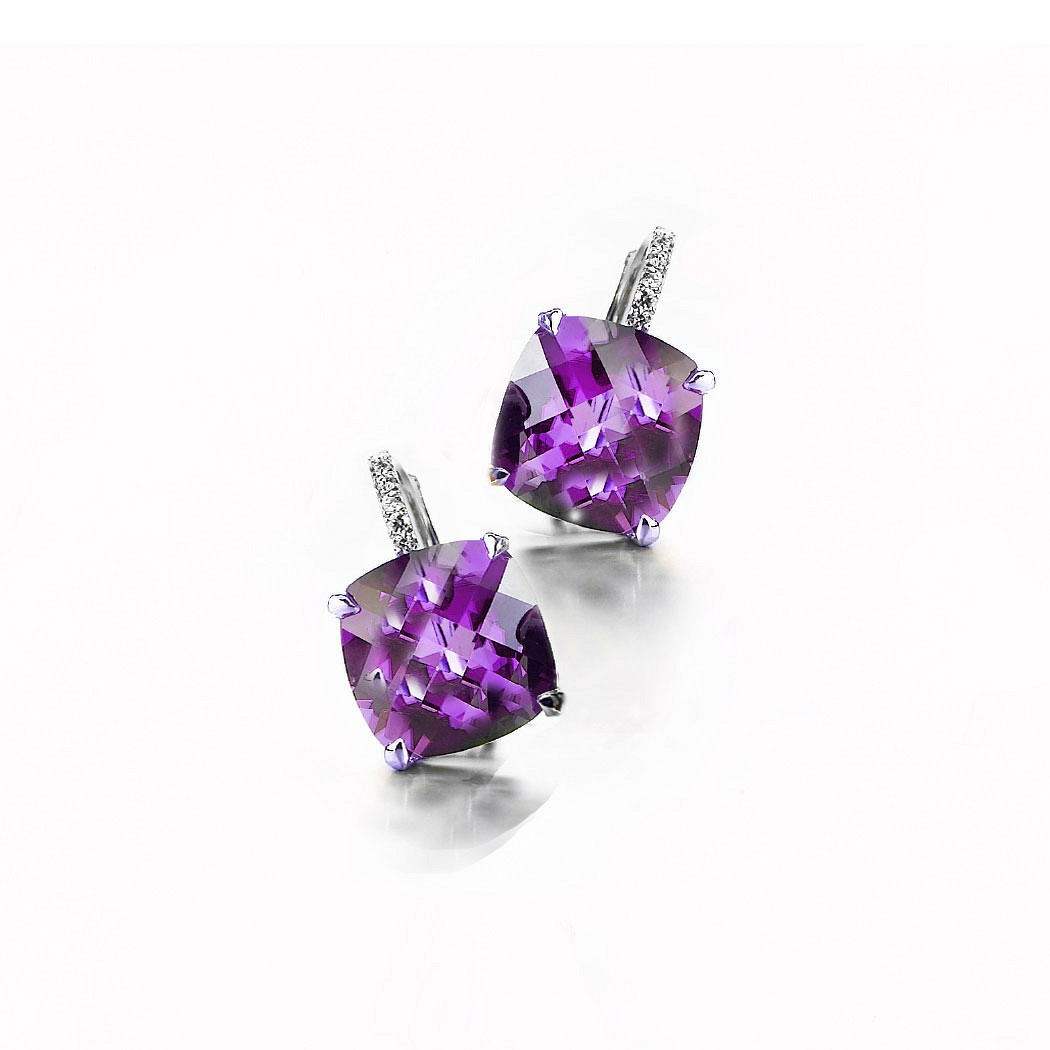 Amethyst cushion and diamond drop Earrings