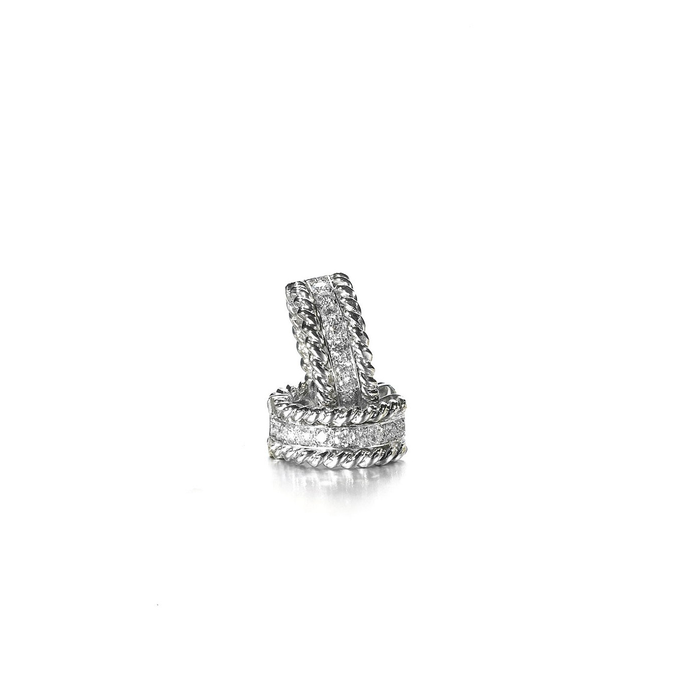 Braid diamond huggies in white gold