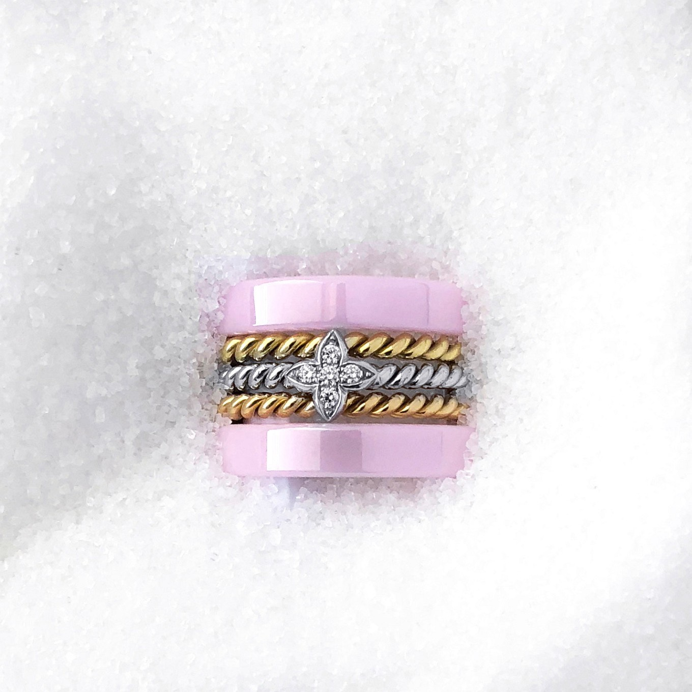 DIAMOND, GOLD & PINK CERAMIC STACKING RINGS