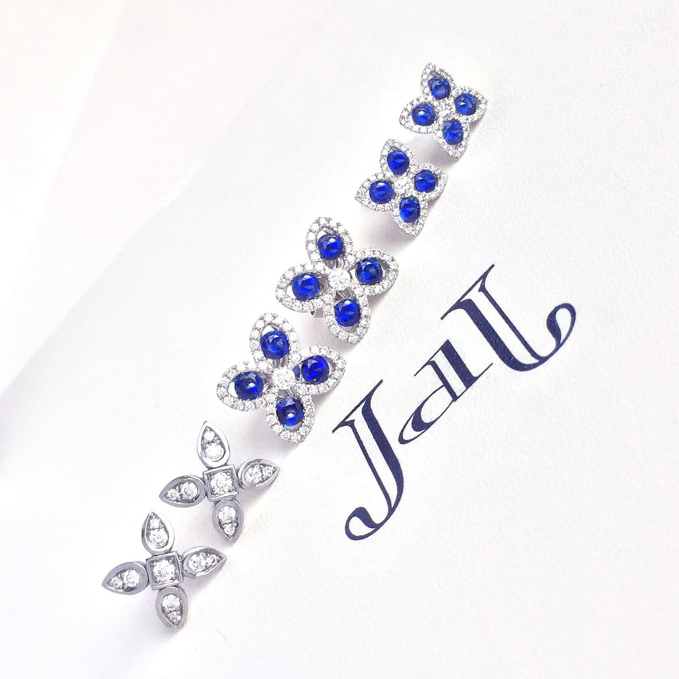 sapphire & diamond. sevilla motif earrings