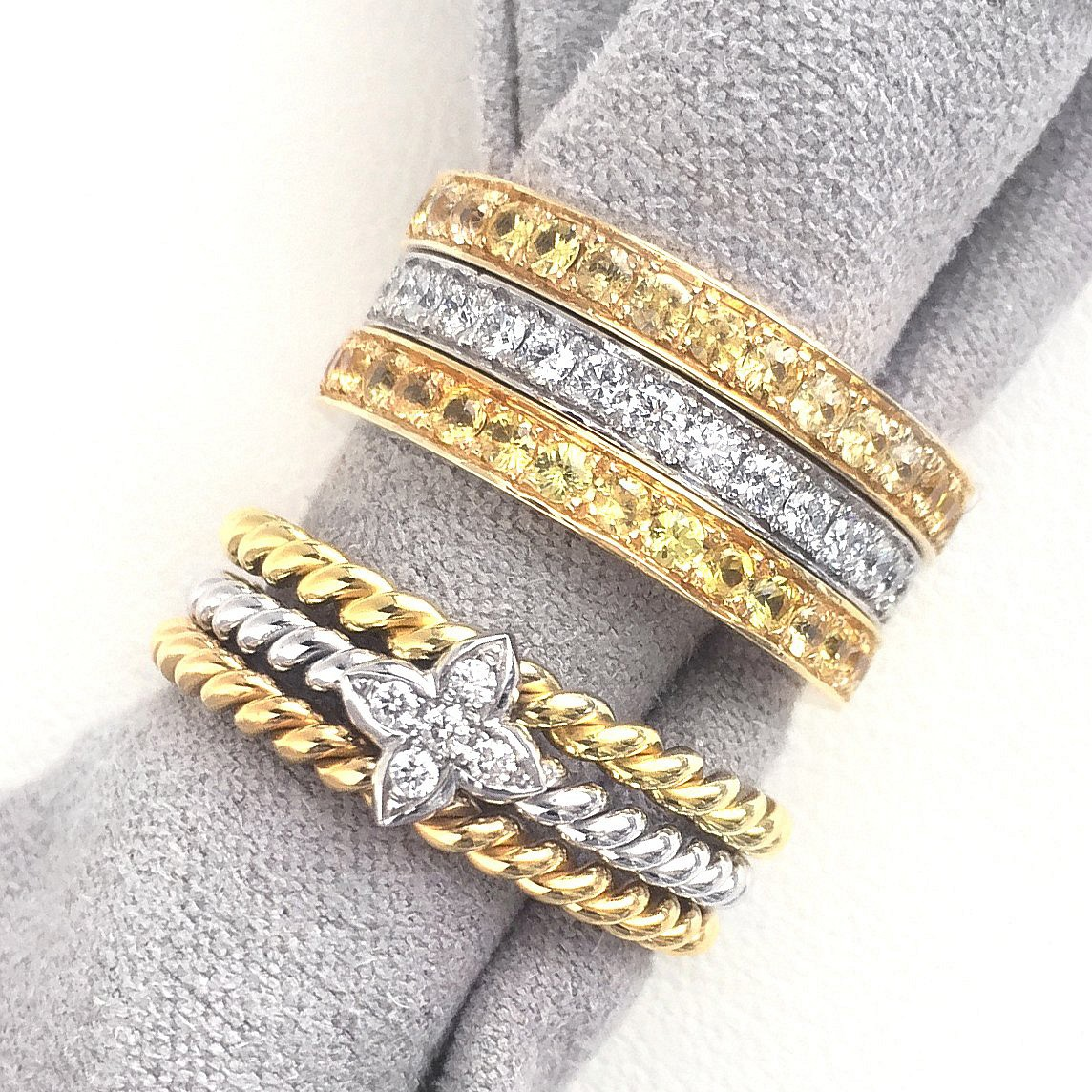 stacking rings. gold - diamond – sapphire