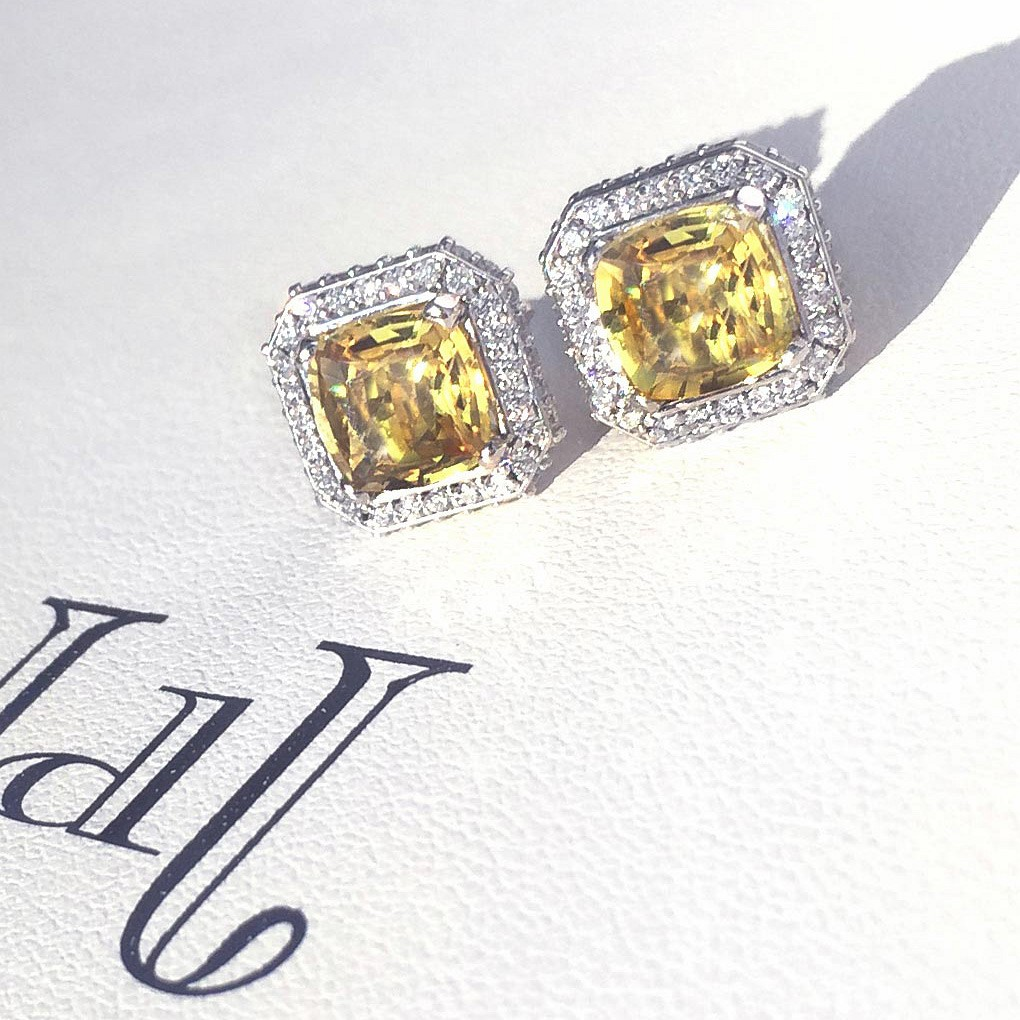 Earrings. Yellow sapphire & diamond