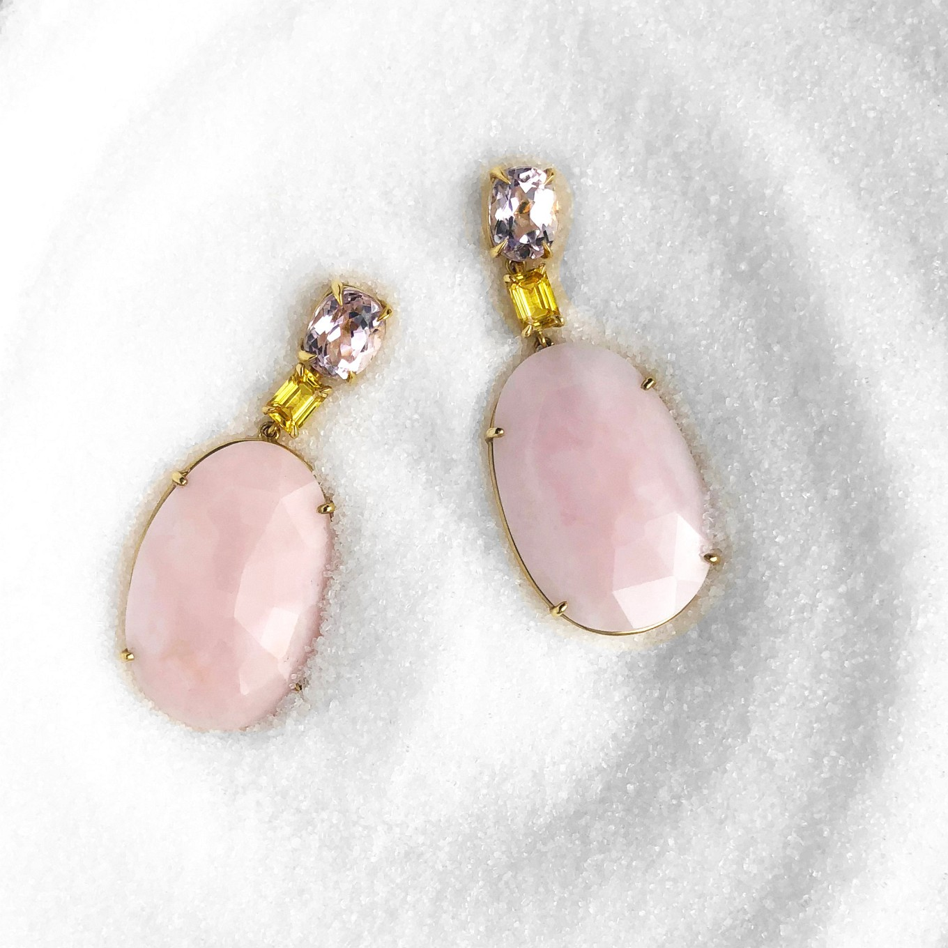 KUNZITE, YELLOW SAPPHIRE & PINK OPAL EARRINGS