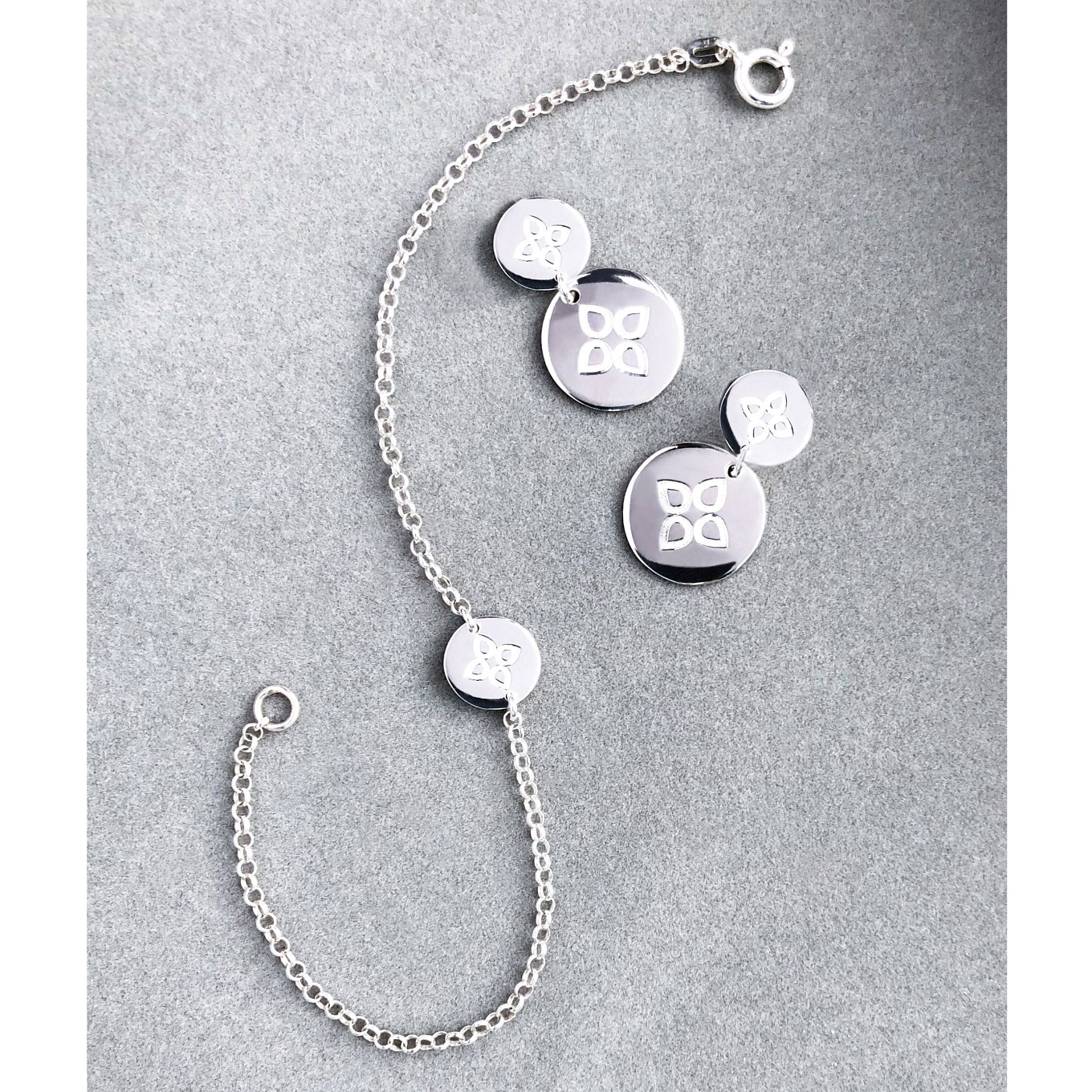 Love disc earrings & bracelet in sterling