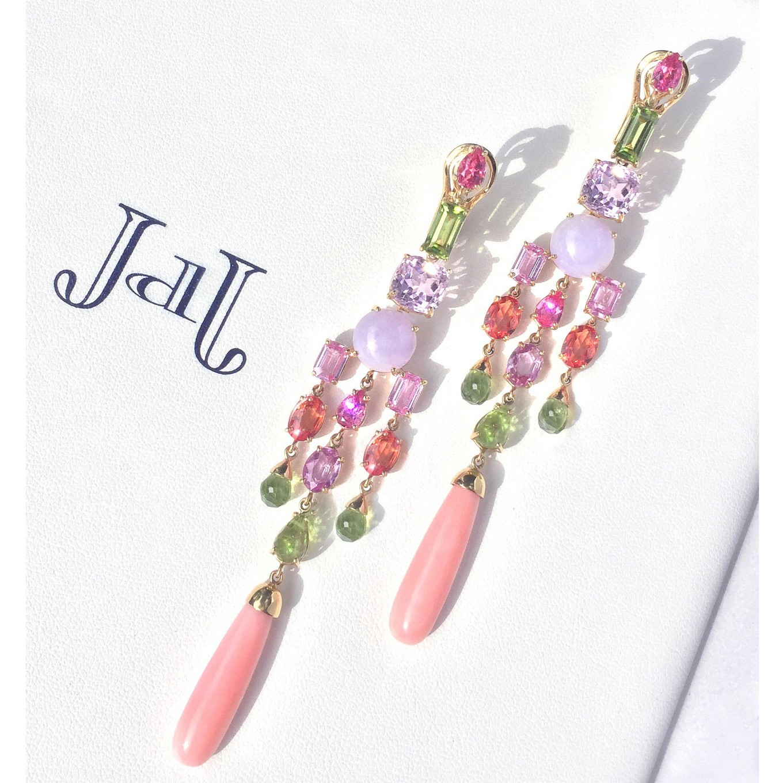 girandole earrings. coral- sapphire - kunzite – peridot