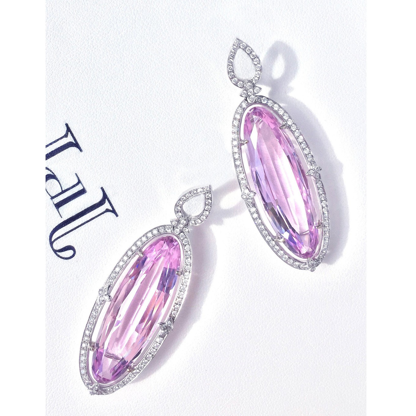 bella' earrings. kunzite & diamonds