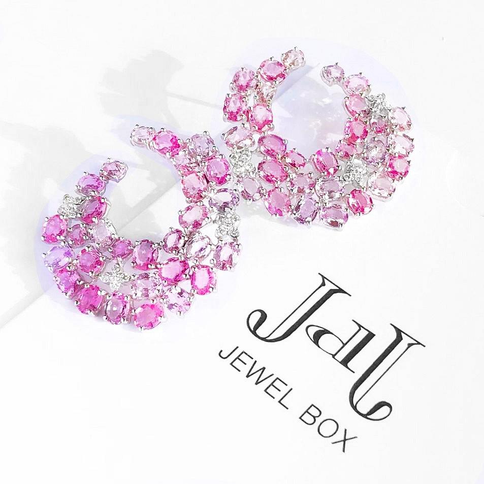 Pink Sapphire swirl earrings