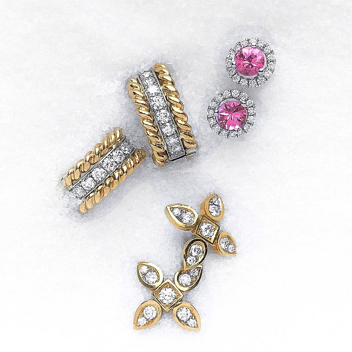 braid diamond huggies. pink sapphire studs & sevilla diamond studs