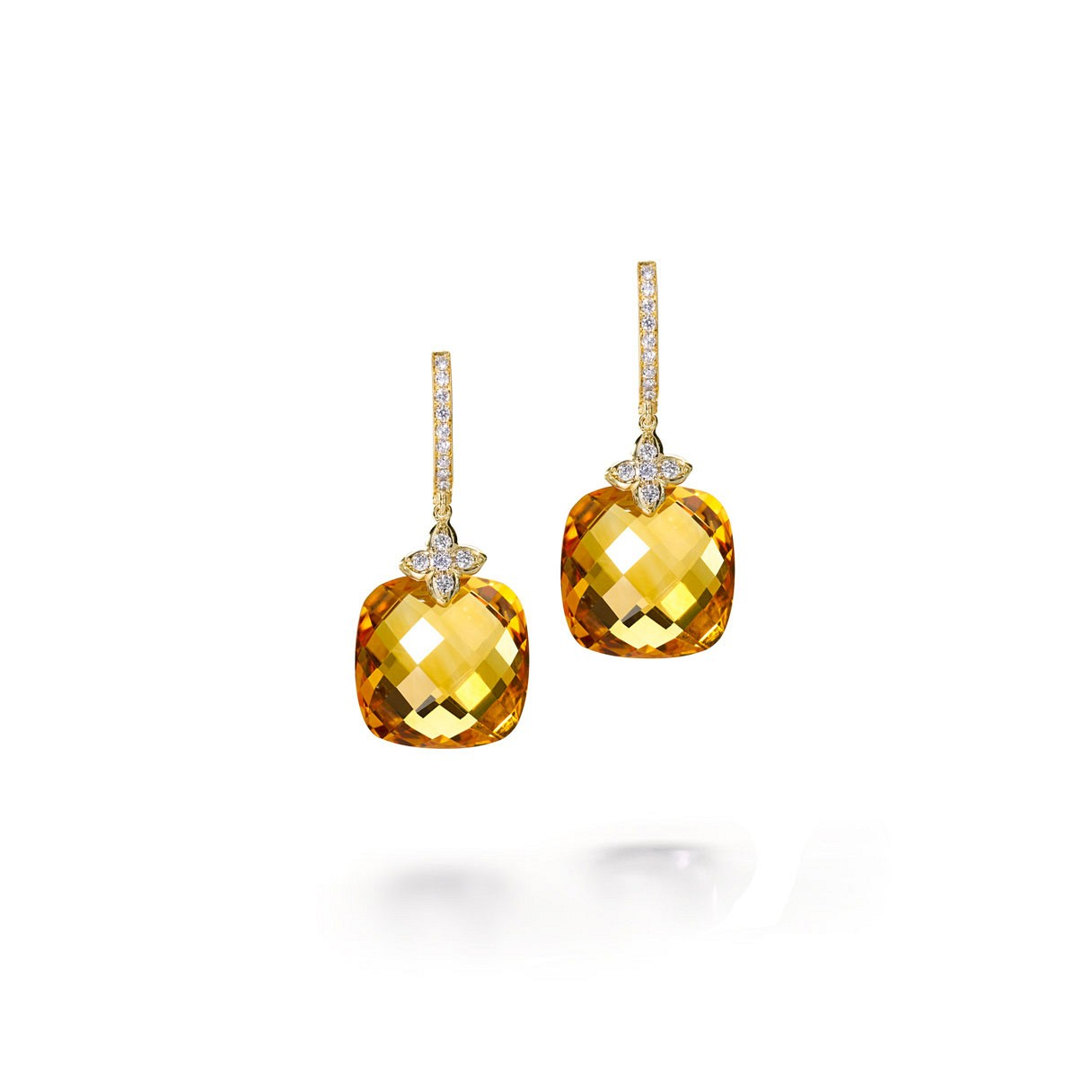 Citrine Cushion cut drop diamond earrings