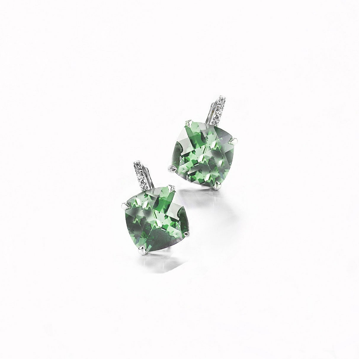 Cushion cut diamond drop earrings. Green amethyst