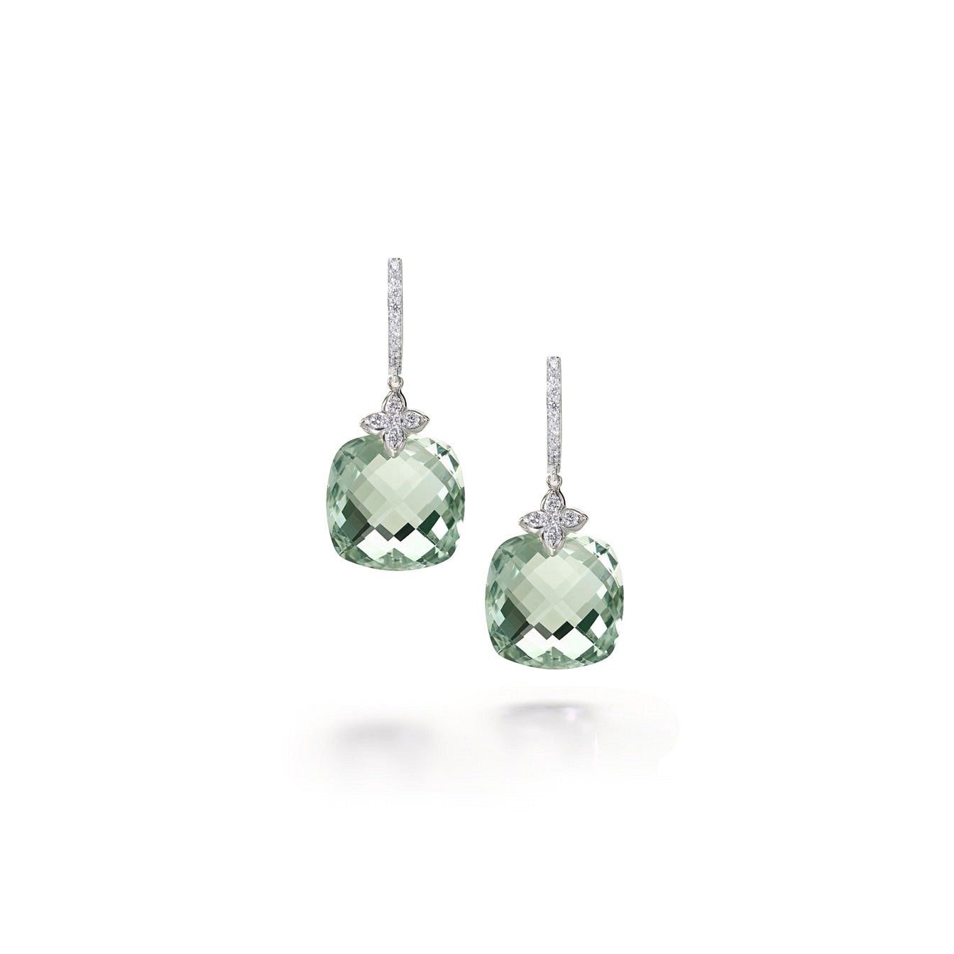 Cushion green amethyst diamond drops
