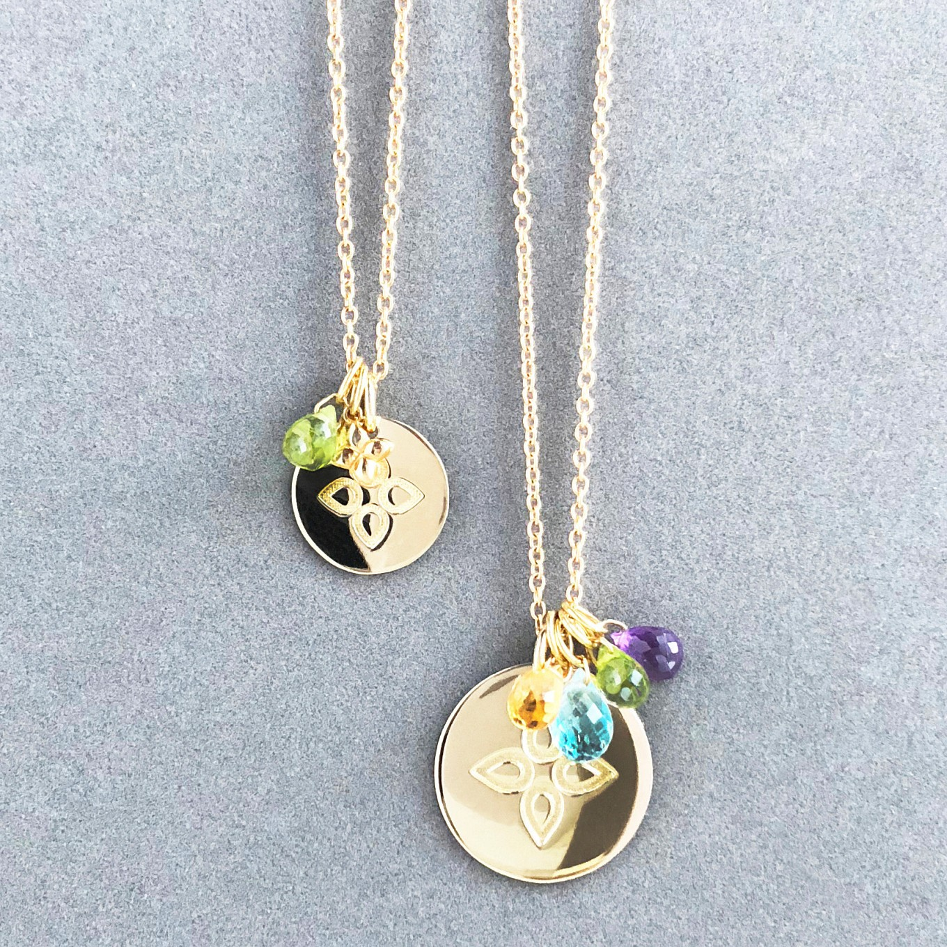 love disc pendants & gemstone charms. small - medium - large discs