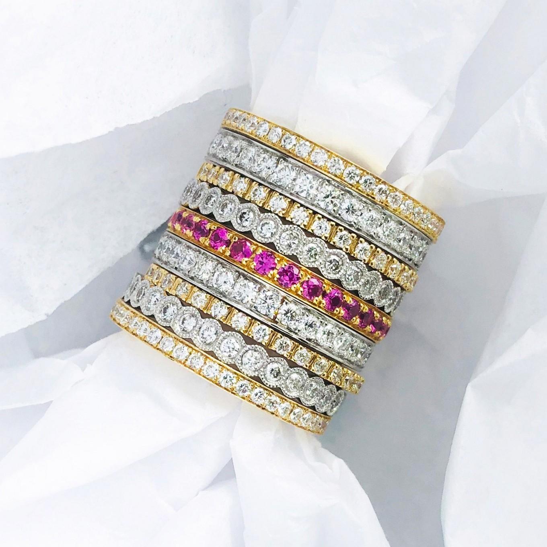 sapphire & diamond eternity bands